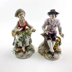 Pair of porcelain figurines florists, Germany, Sitzendorf, perfect condition, handmade