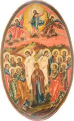 LARGE-FORMAT ICON WITH THE ASCENSION OF CHRIST FROM A CHURCH ICONOSTASIS