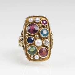 Vintage Gold Ring with tourmaline, sapphire, ruby, pearls and diamonds