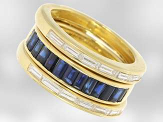 Ring: interesting 2-part, variable-sapphire/diamond ring, the parts can be worn separately, a total of 1.4 ct, 18K yellow gold, handmade