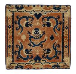 Throne carpet with dragon and two seat cushions with clouds and flowers