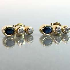 Stud earrings: brilliant and Safir. Yellow Gold / White Gold 585. Marked
