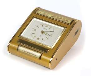 *Europe* table clock/ alarm clock with calendar, 1950s