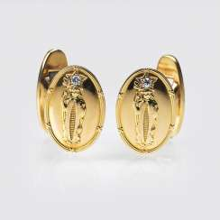 Pair of rare cufflinks with Indian motif and solitaire