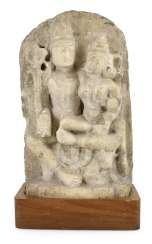 Stele made of Alabaster with a representation of the Umamaheshvara