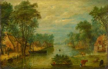 Stalbemt, Adriaen van. Dutch river landscape with farmers ' cottages on the water.