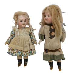 GEBR. KNOCH, among other things, two small porcelain head dolls, 1900's,