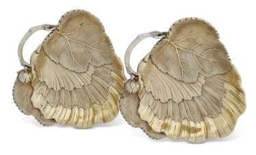 A PAIR OF FRENCH SILVER-GILT FIGURAL SWEETMEAT DISHES