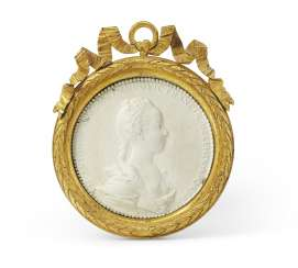AN ORMOLU-MOUNTED FRENCH BISCUIT PORCELAIN PORTRAIT MEDALLION