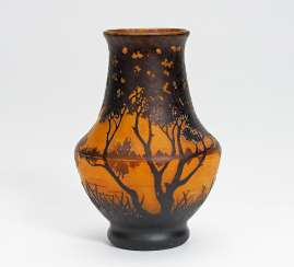 Vase with evening landscape of lakes
