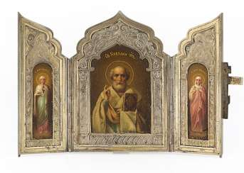 A Miniature Silver Triptych with Nicholas the Miracle-Worker, Maria Magdalena and Holy Martyr Vassa