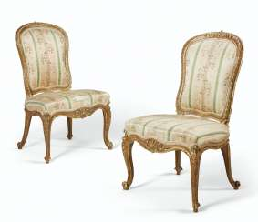 A PAIR OF GEORGE III GILTWOOD SIDE CHAIRS