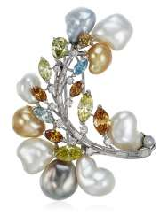 DIAMOND, TREATED COLORED DIAMOND AND CULTURED PEARL BROOCH
