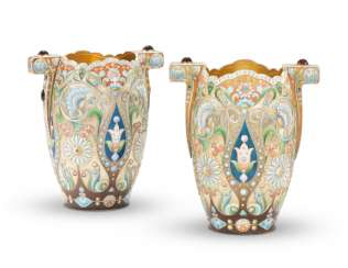 TWO GEM-SET AND CLOISONNÉ ENAMEL SILVER-GILT VASES