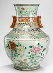 Large Vase made of porcelain with cat, butterflies and peonies