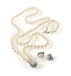 Cultured Pearls Necklace And Earrings,
