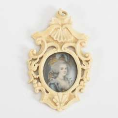 Miniature portrait of Marie Antoinette in a carved ivory frame