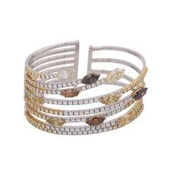 Bracelet with 10 diamonds in navette cut, together approx 12 ct,