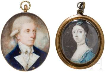 Two medallions with the portrait miniatures, European, at the end of 18. Century