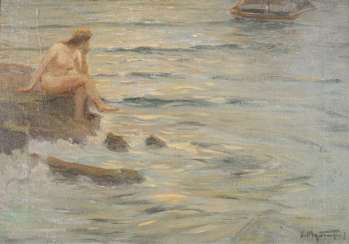 Indistinctly signed: Sitting Nude by the Sea