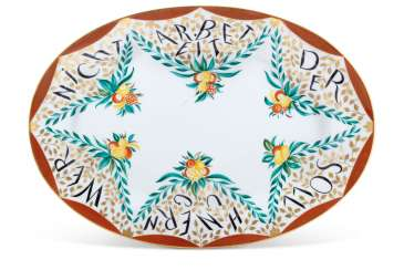 A RARE AND LARGE SOVIET PROPAGANDA PORCELAIN PLATTER