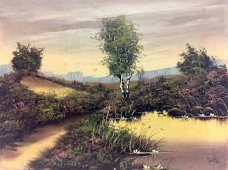 German artist: moor landscape with pond, Oil on canvas.