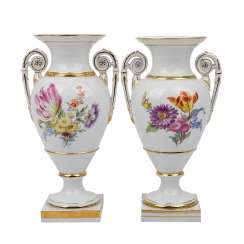 MEISSEN Pair of amphora vases, 1860-1924.