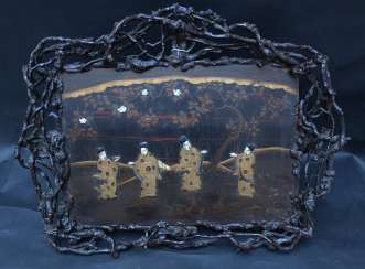 Asian painted lacquer tray wood roots, I carvings, 19.century