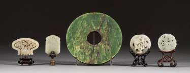 CINQ SCULPTURES DE JADE Chine