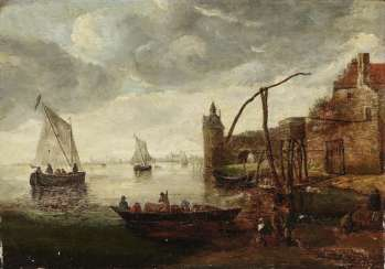 Dutch coastal landscape with sailing ships and ferryboat