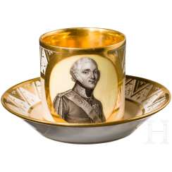 Coffee Cup with hand painted Portrait of Tsar Alexander I, complete with saucer Russian porcelain manufactory Safronov, the first third of the 19th century. Century