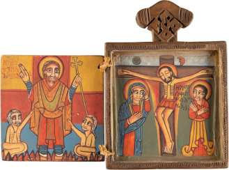 COPTIC POLYPTYCH WITH THE MOTHER OF GOD, THE CRUCIFIXION OF CHRIST AND SELECTED SAINTS