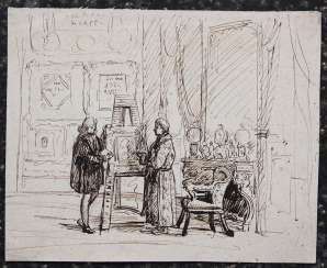 French mid 19. century, Collectors studio, black ink on paper