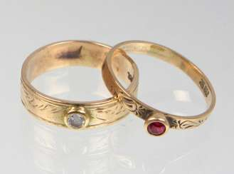 2 rings with engraving - yellow gold 333