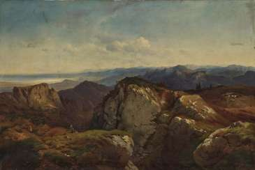 Mountain landscape with a painter and a fighter