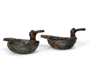 A PAIR OF PASTE-SET METAL AND WOOD BIRD-FORM KOVSHII