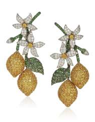 MICHELE DELLA VALLE YELLOW SAPPHIRE, TSAVORITE GARNET AND DIAMOND EARRINGS