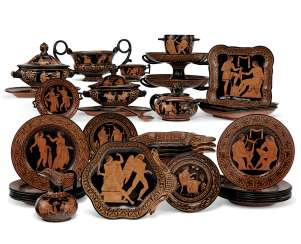 AN ASSEMBLED GIUSTINIANI REDWARE GREEK-REVIVAL PART SERVICE