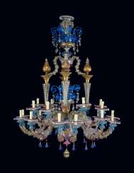 AN ITALIAN POLYCHROME COLOURED-GLASS TWENTY-LIGHT CHANDELIER