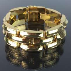 High-quality wide Gold bracelet: yellow gold 750, three-breasted, very elegant.