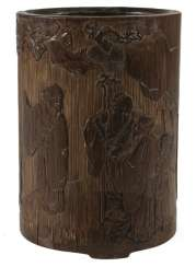 Finely carved brush Cup made of bamboo with a scholar and servant boy