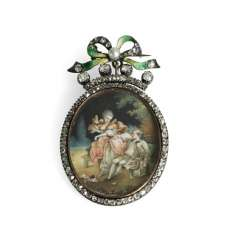 Locket pendant with miniature painting