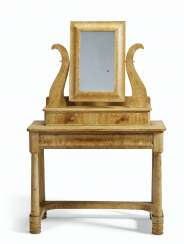 A GRAIN-PAINTED PINE DRESSING TABLE WITH LYRE-FORM MIRROR HO...