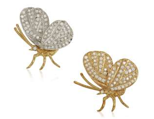 PAIR OF DIAMOND BUTTERFLY BROOCHES