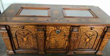 ANTIQUE CHEST, wood with wood inlay, 19./20. Century
