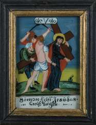 14 behind the glass of the pictures with the stations of the cross of Jesus