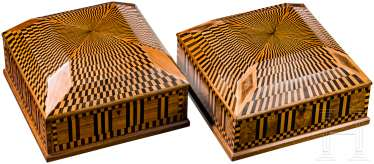 A Pair of Art Deco wooden boxes with marketterie decor, Vienna, around 1910/20
