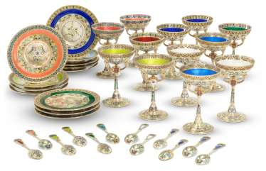 TWELVE GUILLOCHÉ, CHAMPLEVÉ AND PLIQUE-À-JOUR ENAMEL SILVER-GILT SHERBET CUPS, STANDS AND SPOONS