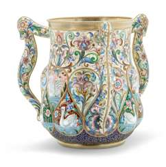 A LARGE AND IMPORTANT SILVER-GILT AND CLOISONNÉ ENAMEL THREE-HANDLED CUP