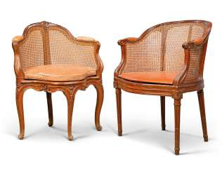 TWO LOUIS XV CANED BEECH FAUTEUILS DE BUREAU